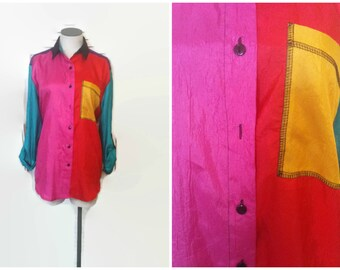 Vintage 80's Shiny Jumpsuit/Tracksuit Style Material Blouse, Laura And Jayne Size Small Shirt. Pink, Green, Red Purple Button Up Hip Hop.