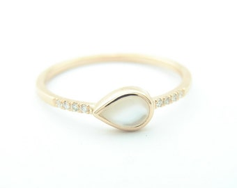 Pear Ring, Mother of pearl & Diamond Pave Ring, Nacre Ring, Gold Ring, Ring