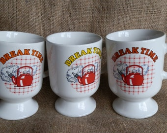 Three 1980's Vintage BREAK TIME Red Whistling Kettle Mugs
