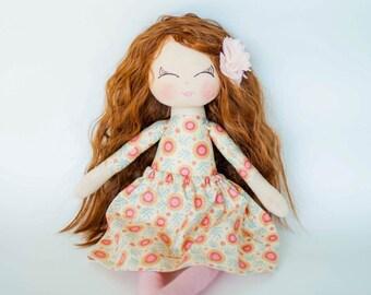 Brown curly hair doll, cloth doll, handmade doll, rag doll, peach, gift for a girl, dolls, personalised doll, birthday gift