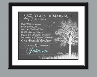 25th Anniversary Gift For Parents - Silver Anniversary Gift - 25th Wedding Anniversary Gift Personalized Anniversary Gift Custom 8x10 PRINT