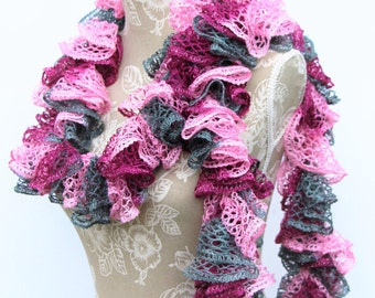 Pink Grey Ruffle Scarf, Sashay Scarf, Crochet Scarf, Handmade Scarf, Ruffle Scarf, Fashion Scarf, Ready to Ship, Gifts for Her