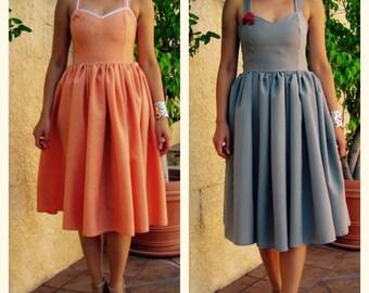 1950s dress / 50s dress / pinup dress / Fit and flare dress / retro dress / midi dress / bridesmaid dress