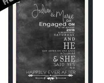 Framed gifts Framed Prints Black and White Framed Personalized Engagement gift  for couples Engagement Present