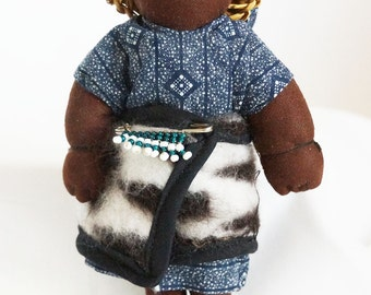 South African Lesothos Female Cloth Doll with Baby