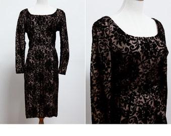 50's Black Wiggle Dress • Elinor Gay Flocked Velvet Little Black Wiggle Dress • Vintage Black Illusion Dress  • LBD • Bombshell Dress