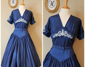Vintage 1950 ~ 50s Ice Blue Taffeta Dress. Midnight Moonlight