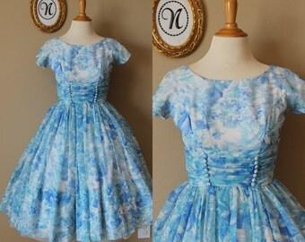 Vintage 1950s ~ 50s Blue Floral Swing Dress