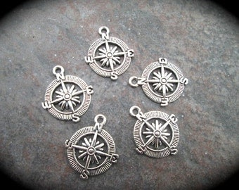 Compass charms in antique silver finish great for adjustable bangle bracelets excellent quality protection direction charms pkg. of 5