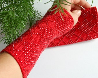 Beaded Wrist Warmers Red - Unique fingerless gloves Lithuanian - Merino wool arm warmers with glass beads