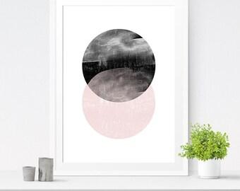 Geometric Circles, Abstract Poster, Circle Print, Nordic Design, Circle Art, Circle Printable, Modern Circles, Watercolor Circles