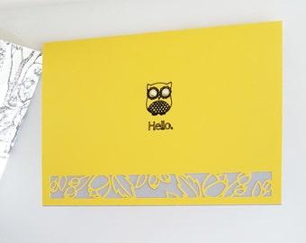 Owl - Hello! : blank greeting card
