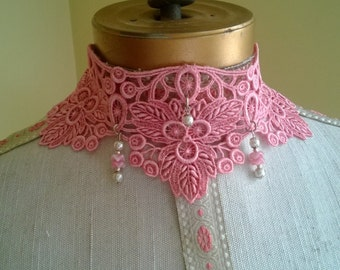 Dusty pink lace choker, vintage lace necklace with pink ruffle beads and pearl accents