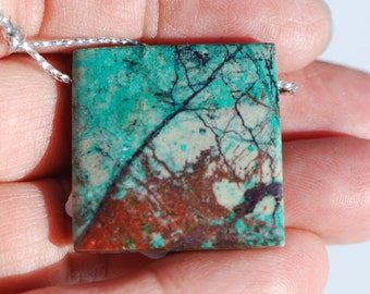 Cuprite, Copper Oxide, in Malachite, Square Pendant, Focal Bead, green, red, 28 x 28 mm, C4563