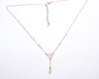 Pearl Drop Necklace / Y Necklace / Crystal / Gold / White Pearl