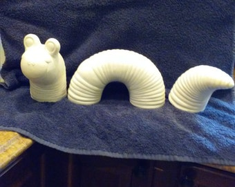 mic Bisque Worm/earth worm/yard art DIY Unfinished or Finished (see Options)