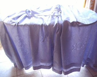 """1980's Pr.LINED curtains+ tiebacks.Gorg.,v.heavy qual.,patt.damask-style lilac fabric(60/40%cotton/poly.)64""""xmax.52 1/2""""drop ONE owner.EXCEL"""