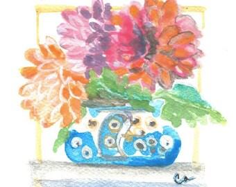 Dahlia's Ablaze. Watercolor Greeting Card