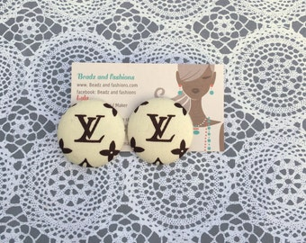 Beige & Brown fabric cover button earrings