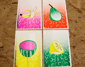 Art Print Set of 4 Fruit Designs
