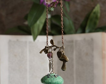 Woodland fairy green mushroom necklace. Needle felted pendant inspired by nature and fairytales.