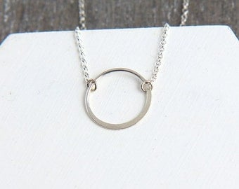Karma Necklace, Sterling Silver Karma Necklace, Ring Necklace, Silver Eternity Necklace, Silver Infinity Necklace, Bridesmaid Necklace