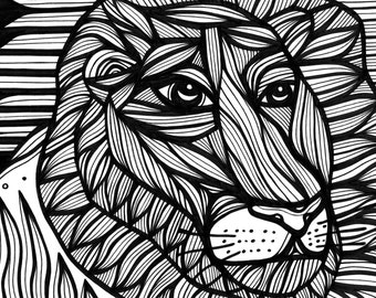 Lion Face Uxorious Original Drawing