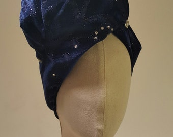 Velvet blue turban and swarovski