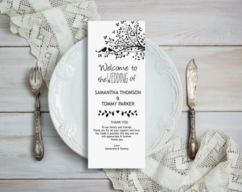 Wedding Program Template Download, Editable Text, Birds on a tree Tea length Wedding Program, Instant Download PDF template, Tealength