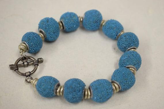 Bracelet Sponge Coral Dyed Turquoise Round Beads Silver Handmade Bracelet Jewelry Sponge Coral Turquoise Beads Vintage Unique
