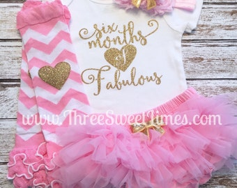 Six Months Of Fabulous | Baby Girl Outfit | 6 Month Outfit Half Birthday | Pink Gold Halfway to One Tutu Bloomer | Smash Cake Photo Shoot