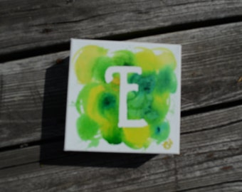 "Square Single Letter ""E"" Acrylic Painting 6x6"