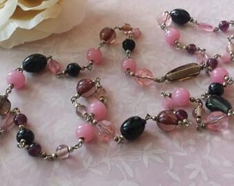 Fancy Lavender Pink Black Glass Necklace Lucite Necklace Mid Century 1960s