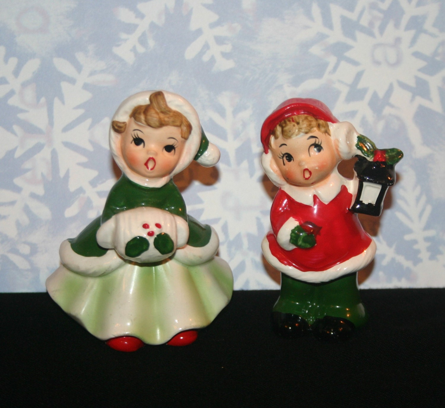 Singing Carolers Candleholders Figurines Vintage By: Vintage JOSEF ORIGINALS CHRISTMAS Carolers Made In Japan