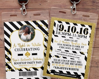VIP PASS, invitation, Kate Spade party, white party, 21st birthday, sweet 16, birthday invitation, wedding, baby shower, bridal shower