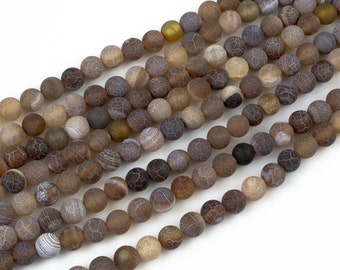 Matt Brown Spider Vein Agate, High Quality in Matt Round, 6mm, 8mm, 10mm, 12mm- Full Strands Beads 15.5 Inches