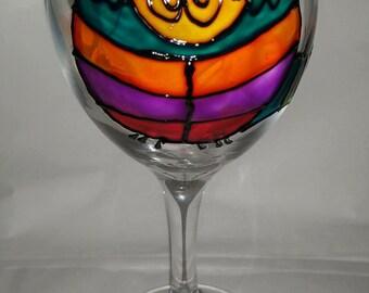 Funky Cat Wine Glass