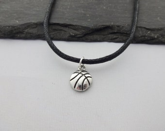 Basketball Choker, Basketball Necklace, Basketball Gift, Basketball Gifts, Black Cord Necklace, Charm Necklace, Sport Necklace, Jewelry