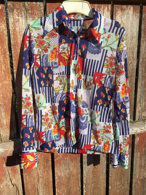 Vintage shirt // patchwork blouse by Together with L*A*I // womens vintage top // vintage clothing // retro clothing // retro shirt