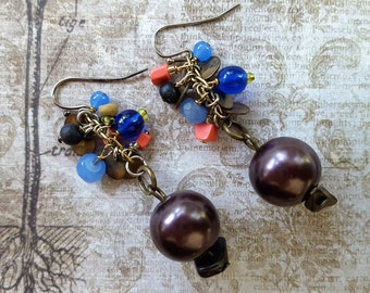 Mocha, Shades of Blue, Orange, Tan, Black and Brass Beads on Brass Chain, BOHO Beaded Dangle Earrings. Hang 1.75 Inches.