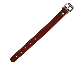 "Vintage Ex-Army Brown Leather Strap With Metal Buckle 22cm long 9"" new NOS unissued tie down pull tight"