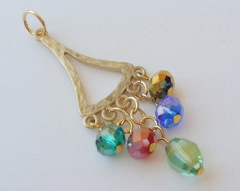 """Matte Gold Triangle Pendant: 2-sided hammered gold 2.5"""" pendant beaded, 5 multi-color iris crystals, shimmering iridescent dangling color."""