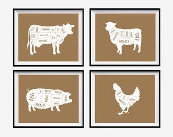 Butcher Diagrams, Butcher Prints, Butcher Art Prints, Cuts of Meat, Cow Diagram, Meat Diagrams, Kitchen Art Prints