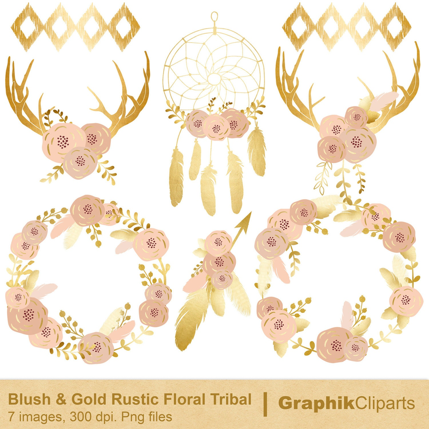 Blush and Gold Rustic Floral Tribal. Tribal Clip Art. Rustic