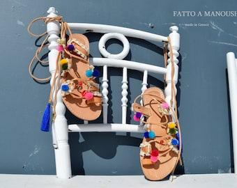 Leather sandal, Gladiator sandal, Boho sandals, Leather color, Greek sandals, Pompom Sandals, Gypsy sandals,  Boho sandals women, Lace-up