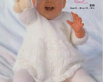 baby knitting pattern pdf baby dress knitting pattern baby girls dress newborn 16-22inch DK baby knitting pattern pdf instant download