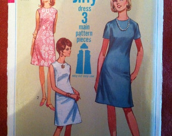 1967 Simplicity  7072 Jiffy dress 3 main pattern pieces