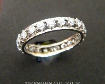 Diamond Eternity Ring Full Diamond Vintage Full Eternity Band Platinum 2.5 ct French Vintage Diamond Band Claw Settings Anniversary Ring