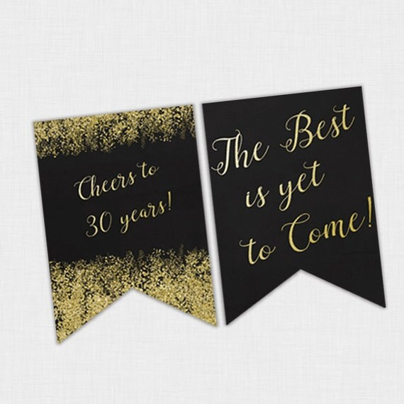 Confetti Birthday Banner Black And Gold 30th