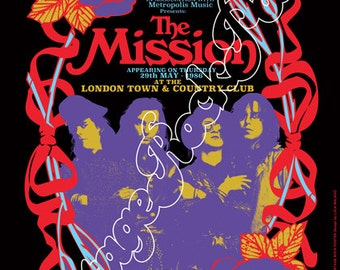 762 - the MISSION - London,Town & Country Club,  Uk - 29 may 1985 -  artistic concert poster